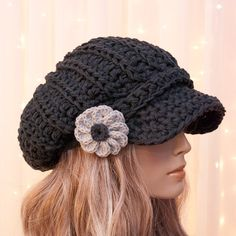 Slouchy Cotton Crochet Newsboy Hat with Flower - All season - Asphalt Gray - Made to Order - Pick Your Color
