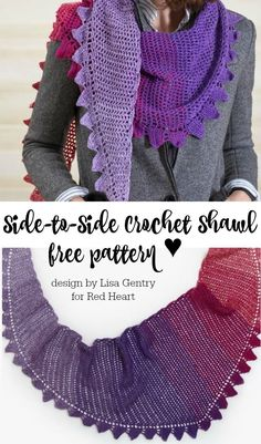 Crochet Side Stitch Side-to-Side Crochet Shawl - You'll love this easy stitch pattern with a fun way of adding a border motif every four rows. It's an ingenious way to have your border color match the body of the shawl when using It's a Wrap Rainbow yarn! Poncho Au Crochet, Crochet Prayer Shawls, Crochet Shawls And Wraps, Crochet Scarves, Diy Crochet, Crochet Clothes, Crochet Cowls, Crochet Shirt, Knitted Shawls