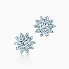 Tiffany Enchant® flower earrings in platinum with diamonds.