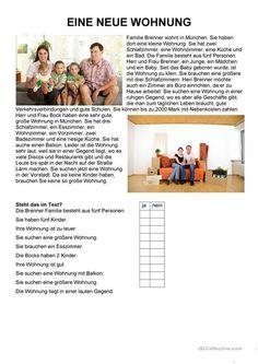 Einfache Texte - Eine neue Wohnung Adjectives For Kids, Deutsch Language, Cnc Software, German Grammar, German Language Learning, Learn German, Reading Comprehension, Teaching Resources, Vocabulary