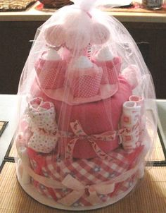 2 Tier Girl Diaper Cake for baby Shower or Baby by DreamingBabies, $90.00