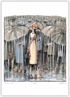 Rain William Turner, Hug You, Blazer Fashion, Gouache, Lisa, Cartoon, Umbrellas, Illustration, Hands