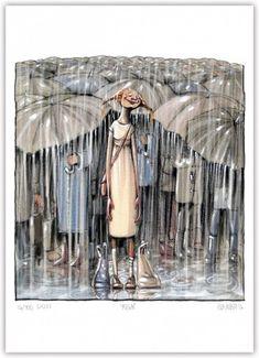 Rain William Turner, Hug You, Blazer Fashion, Illustration Artists, Gouache, Cartoon, Painting, Umbrellas, Hands