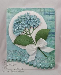 This Hydrangea Die  was perfect for a card for my friend that loves all things Hydrangea! I found some paper that had a some different gr...