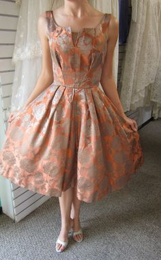 Vintage 50s BROCADE Full Circle Skirt Cocktail Wedding Party Evening DRESS Rockabilly Mad Men Lucy PinUp. $130.00, via Etsy.