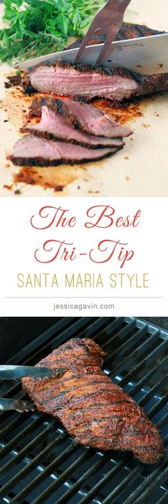 Santa Maria Style Tri-Tip Get the Grill Fired Up! Its time to make this delicious Santa Maria style Tri-Tip Rub Recipes, Grilling Recipes, Meat Recipes, Dinner Recipes, Cooking Recipes, Tri Tip Steak Recipes, Beef Tri Tip, Recipies, Tri Tip Steak Marinade