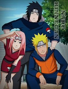 Naruto/ Hinata and Sakura/Sasuke's kids. I'm not gonna lie, I love this. I can't help but imagine what their names would be. Sasuke and Sakura's boy is probably Itachi and Naruto and Hinata's kid is probably named after someone - could be Minato, Neji, or even Jiraiya! I also love how Sakura's daughter is eyeballing mini Naruto. This is a great fan art piece!