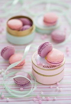 Perfect gift bag goodies! Pink and Purple Macarons