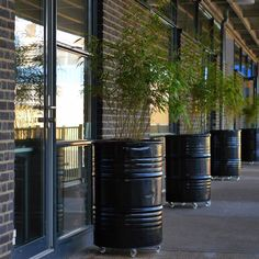 Industrial Planters, made out of Oilbarrels. Terrace Garden, Garden Planters, Outdoor Spaces, Outdoor Living, Landscape Design, Garden Design, Oil Barrel, Barrel Furniture, Garden Inspiration
