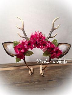 Hirschgeweih Stirnband Blume Krone Boho Cosplay von WooDnHooks