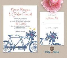 Tandem bicycle wedding invitation and RSVP card set Elegant Wedding Invitations, Mountain Wedding Invitations, Garden Wedding Invitations, Engagement Party Invitations, Wedding Stationary, Wedding Prep, Wedding Games, Wedding Vows, Our Wedding