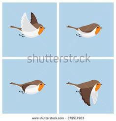 Vector illustration of cartoon flying robin animation sprite