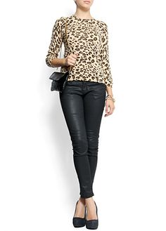 Leopard print blouse with Snake print leather pumps