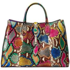 Gucci multicolored snake print handbag