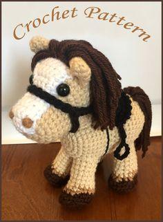 Jack el Pony PDF ganchillo patrón Amigurumi caballo y silla Cowboy