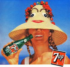 A 1958 summer 7up advertisement. We never had 7up...but I *do* remember the sun hats tho
