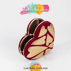 """♥Cartera """"Corazón"""" uva con oro♥ ♥BUTRICHMANÍA♥"""