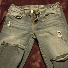 Aeropostale jeans size 6 Aeropostale skinny jeans with 2 tears (came this way) size 6,  30 in inseam Aeropostale Jeans Skinny