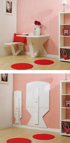 Table & bench that folds against the wall! Yes!