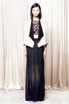 Alice + Olivia S/S '14 navy blue beaded maxi and cropped top (evening separates are cool again)