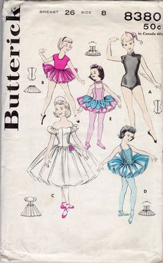 """1950s Girls' Ballet, Dance Outfit, Dancing Costumes Pattern - size 8, Breast 26"""" - Butterick"""