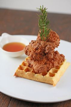 buttermilk fried chicken stack on waffles  #food #recipes #blog #drink