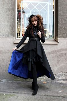Elegant gothic, Aristocrat or EGA are all names for the Aristocrat style of dress. Having a lot of similarities with western romantic gothic, this style is proven to be a more matured way to dress in Lolita. unlike many others, Aristocrat is can be taken up, being worn by both men and women. symbols of this clothing includes dark colors, very long skirts, Fitted jackets,many types of corsets,tail coats and frilly shirts (Lolitafashion.org 1).