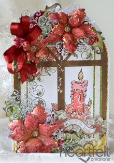 Heartfelt Creations | Red Poinsettia Candle Window