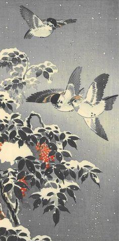 Coralberries and sparrows, January motive Illustrations, Illustration Art, Art Occidental, Japanese Woodcut, Art Chinois, Japan Painting, Art Japonais, Samurai, Korean Art