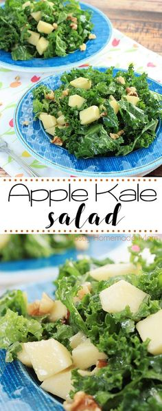 Kale Apple Salad - fresh and delicious! Raw kale, chopped apples, walnuts, and a dijon dressing - my favorite salad recipe!