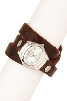 Ladies Triple Wrap leather wrap watch. Love these!