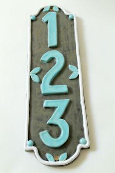 CUSTOM Ceramic House Numbers. $100.00, via Etsy.