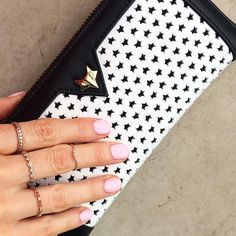 Pale pink shellac manicure  preparing for tomorrow's launch party. Wearing Rose Gold ring set and Liberty Wallet in Monochrome. #pampering #manicure #beauty #palepink #shellac #monochrome #love #rosegold #rings #wallet #lasercut #luxury #ladyfoxlife #ladyfoxlove by ladyfoxlove