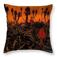 Throw Pillow featuring the photograph Blooming In The Dark 01 by Dora Hathazi Mendes #aloevera #blooming #throwpillow #dorahathazi