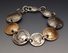 Coins Bracelet Sampler made from 7 Vintage American Coins image 0 Penny Jewelry, Spoon Jewelry, Copper Jewelry, Charm Jewelry, Wire Jewelry, Jewelry Art, Beaded Jewelry, Jewelry Bracelets, Vintage Jewelry