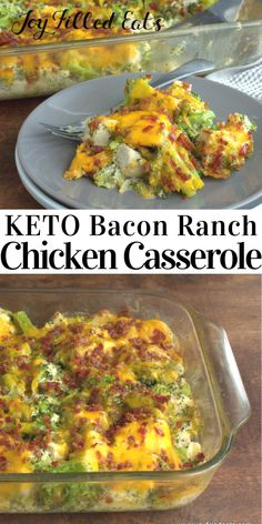 Chicken Bacon Ranch Casserole is a hit with ALL! Bacon chicken ranch casserole is quick, easy, & comforting. My fave low carb chicken casserole ever! Low Carb Chicken Casserole, Chicken Bacon Ranch Casserole, Low Carb Chicken Recipes, Casserole Recipes, Low Carb Recipes, Diet Recipes, Healthy Recipes, Keto Casserole, Pasta Recipes