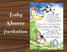 Digital printable diy mother goose invitation nursery rhyme nursery rhyme baby shower invitation hey diddle diddle the cat and the fiddle by featheredheartprints filmwisefo Images