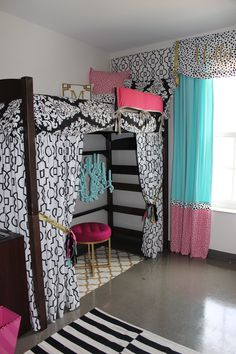 Ole Miss Dorm : Black Gold Tiffany Pink Dorm Room | Sorority and Dorm Room Bedding -- Bunked Bed