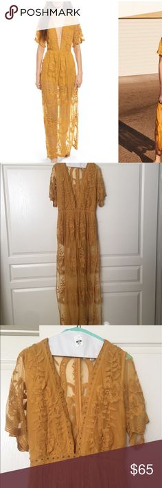 Lace Overlay Romper Worn once, Romper with lace overlay, Very popular style, Mustard Honey Punch Dresses Maxi