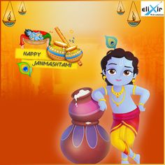 May Lord Krishna come to your house & take away all ur Makhan, Mishri with all your worries and sorrows. May #LordKrishna fulfill all your wishes. #HappyJanamasthami  ! #ElixirWebSolutions