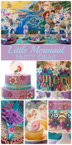 A Mermaid girl birthday party in purple and aqua blue with a banner, purses, tulle cupcake toppers and faux cakes! See more party planning ideas at CatchMyParty.com!