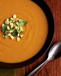 Sweet Potato and Apple Soup Recipe - combine this with Epicurious soup recipe! - soooo yummy and very impressive with the garnish!