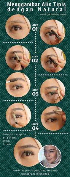 tutorial step by step menggambar alis tipis tetap natural