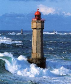 Lighthouses of Iroise. Phare de la La Jument. Finistere Brittany