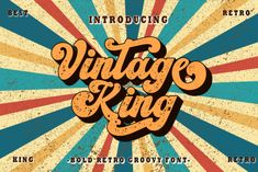Vintage King is a retro and bold display font. This font is PUA encoded which means you can access all... Funky Fonts, Bold Fonts, New Fonts, Groovy Font, Retro Font, Apple Mac, Linux, Display Font, Bold Typography