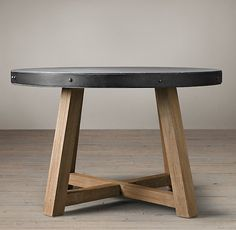 Salvaged Wood & Concrete Beam Round Dining Table