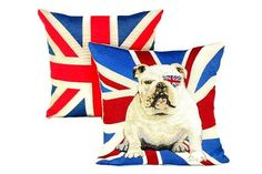 Set of Two Union Jack Bulldog Pillow Covers British Flag throw