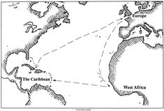 Good map for student to use to illustrate the Triangular Trade of the 17th & 18th Centuries (Europe to Africa to the Caribbean and back to Europe).  Print out in landscape format and have student label which goods came and went from each location. (Sonlight Core H, week 3) I had my student draw and label the major items that were leaving each of the three locations.