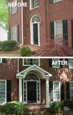 Flat faced traditional brick home has instant curb appeal with a new gabled portico. Designed and built by Georgia Front Porch serving the north metro Atlanta area.
