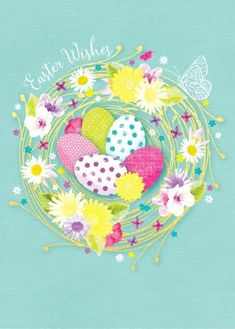 Debbie Edwards - Easter Eggs In Golden Nest With Flowers Happy Easter Pictures Inspiration, Easter Illustration, Easter Wallpaper, Easter Wishes, Happy Wishes, Diy Calendar, Easter Printables, Easter Party, Easter Crafts